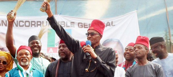 APC Presidential candidate, Muhammadu Buhari in a Presidential campaign rally