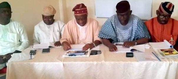 Sen. Babafemi Ojudu, Ayo Afolabi, ARG's Gen. Secretary, Olawale Oshun, National Chairman, Kunle Famoriyo, Publicity Secretary, and Gen Odunsi (rtd)