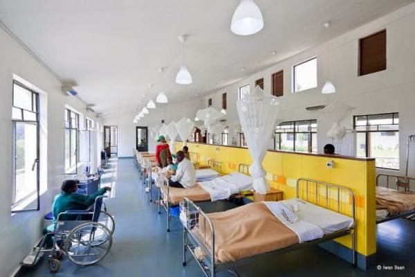 A hospital ward with patients