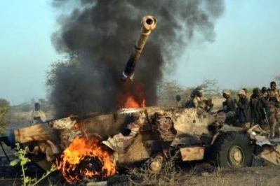 A light tank of the terrorists destroyed by troops