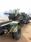 Artillery Gun used by Boko Haram destroyed by Nigerian Army soldiers during the recapture of Gwoza