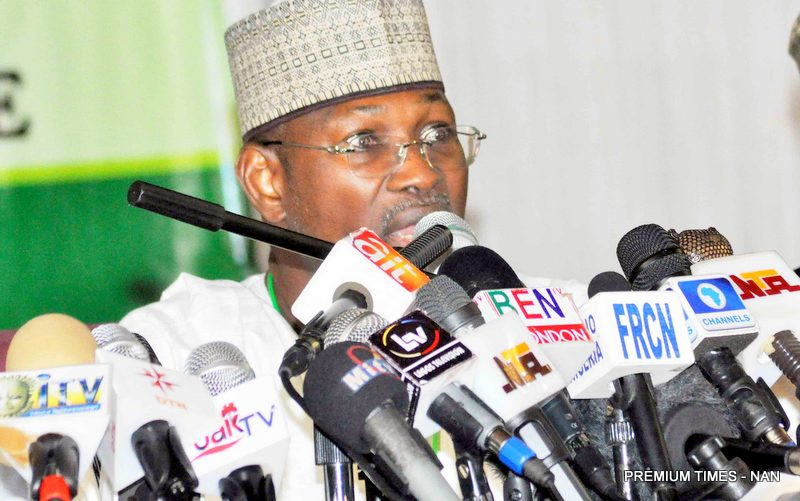 Former INEC Chairman, Professor Attahiru Jega announcing results in the 2015 election.