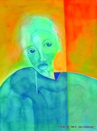 A Street Person clad in green by Tayo Adenaike, watercolour on paper, 24 inches x 18 inches, 2009