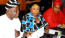 From left: chairman, police service commission (psc), Mike Okiro; commissioner for media, south-east zone, Comfort Obi and Commissioner for women affairs, Aisha Tukur, at a news conference on the alleged N275 million election-monitoring fund's fraud rocking the PSC in Abuja