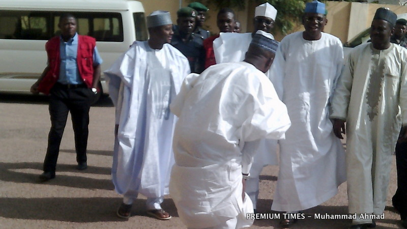 FILE PHOTO: Sule Lamido and his sons arrived the Kano court amid cheers.