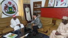 Kano governor, Ganduje in one of the parlors at the deputy governor's residence