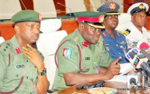FROM LEFT: ASSISTANT DIRECTOR OF DEFENCE INFORMATION, COL. MOHAMMED DOLE; DIRECTOR OF DEFENCE INFORMATION, COL. RABE ABUBAKAR; DEPUTY DIRECTOR OF INFORMATION, GROUP CAPT.  WAP MAIGIDA, AND ASSISTANT DIRECTOR OF DEFENCE INFORMATION, COMMANDER WAY OLABISI, DURING A MEDIA INTERACTIVE SESSION WITH DIRECTOR OF DEFENCE INFORMATION IN ABUJA
