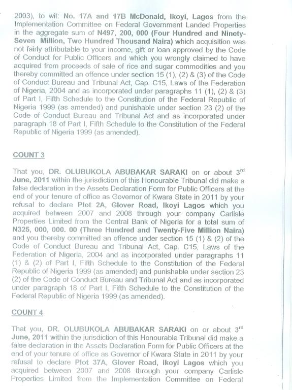 Bukola Saraki charge sheet