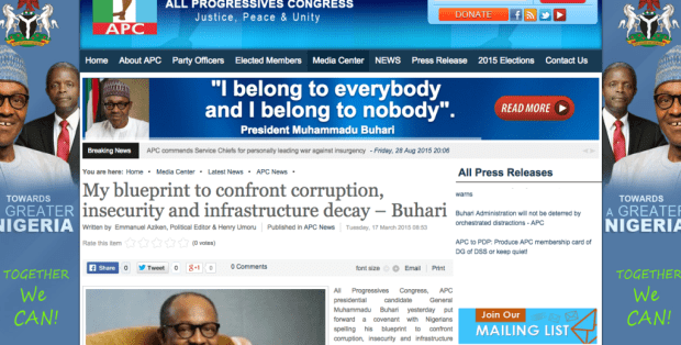 """Story on """"My Covenant With Nigeria"""" republished by APC website"""