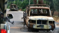 A spot on the Kudzum-Mubi road where Nigerian Army apparently took a serious hit