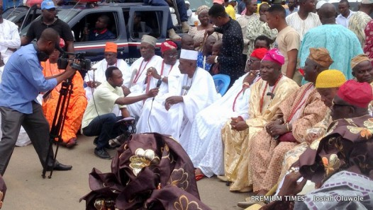 Ife Chiefs waiting at the Ife toll gate, Ife on Wednesday