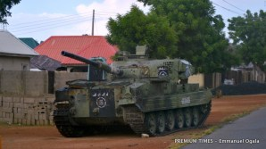The only abandoned Boko Haram military tank not completely destroyed by Nigerian Army.