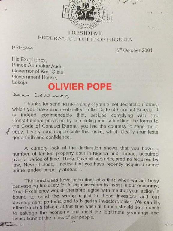 Obasanjo's letter to Abubakar Audu