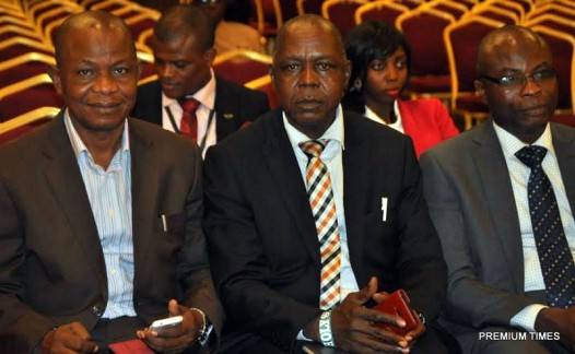 LAUNCHING..(L-R)   Publisher Metro Watch Online Mr Collins Edomaruse ,MD/CEO New Sentinel Online Mr Peter Ailuorio,and Mr Kola Adewole From Bank of Industry. at the Former Launching of (GOCOP) held at  Eko Hotel and Suites Victoria Island in Lagos yesterday 22/10/2015