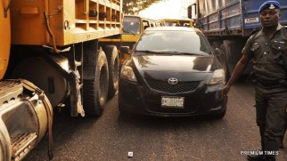 Vehicles impounded by Lagos State Governor's convoy, for driving against traffic at Ijora, on Wednesday, December 16, 2015.