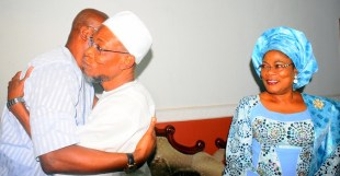 Governor State of Osun, Ogbeni Rauf Aregbesola; his Ekiti State counterpart, Mr. Ayodele Fayose and Osun deputy Governor, Mrs Titi Laoye-Tomori, during a visit by Governor Fayose, at the Government House, Osogbo