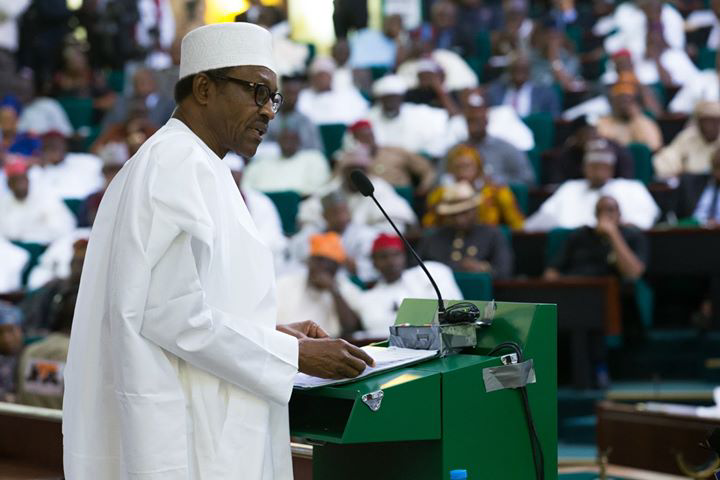 FILE PHOTO: President Muhammadu Buhari presenting the 2016 Budget to the National Assembly
