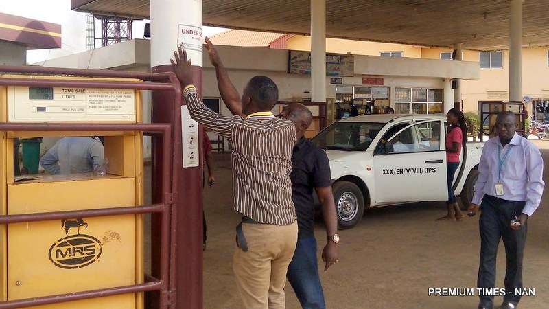File photo of DPR Officials sealing a filling station
