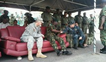 Patrick Doyle, the US Defence Attaché to Nigeria with representative of the Defence Minister Major-General Barry Ndiomu