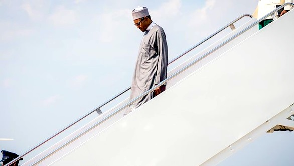 President Muhammadu Buhari alighting from the plane on one of his trips