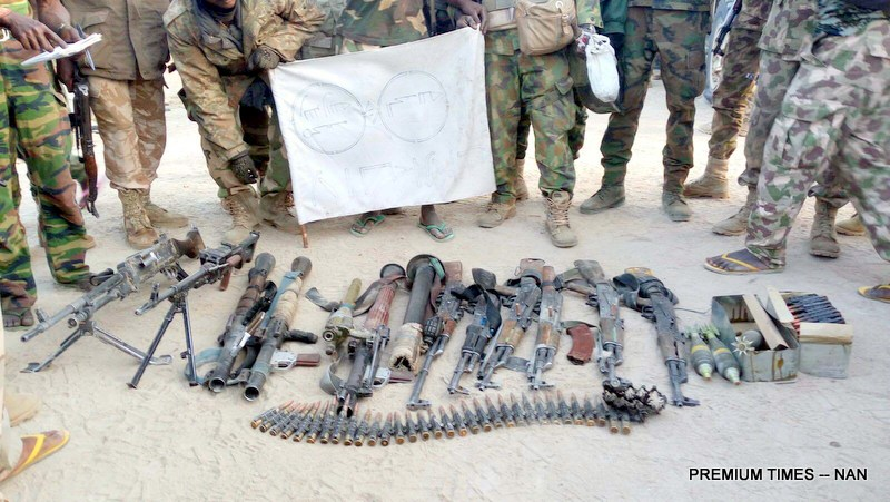 FILE PHOTO of arms recovered by the Nigerian Army used to illustrate story
