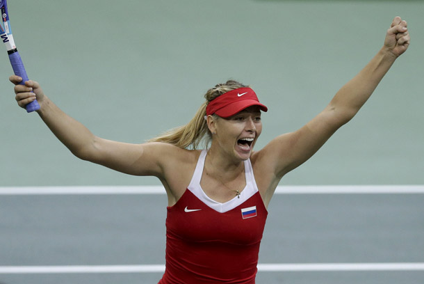 FILE PHOTO: Russia's Maria Sharapova celebrates after winning against Czech Republic's Petra Kvitova during their final match of the Fed Cup tennis tournament in Prague, Czech Republic, November 15, 2015.   REUTERS/David W Cerny