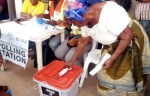 FILE PHOTO; Voter voting at the Rivers State Re-run relections