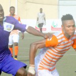 PIC 31. OPARA AUSTINE OF MFM FC (L) VYING FOR BALL WITH OKIKI AFOLABI OF SUNSHINE FC AT THE ONGOING NIGERIA PREMIER LEAGUE IN LAGOS ON THURSDAY (3/3/16) 2053/03/03/2016/OOA/ICE/NAN