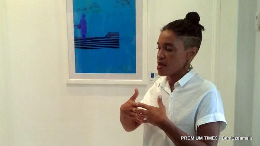 Wura-Natasha Ogunji explaining one of her works.