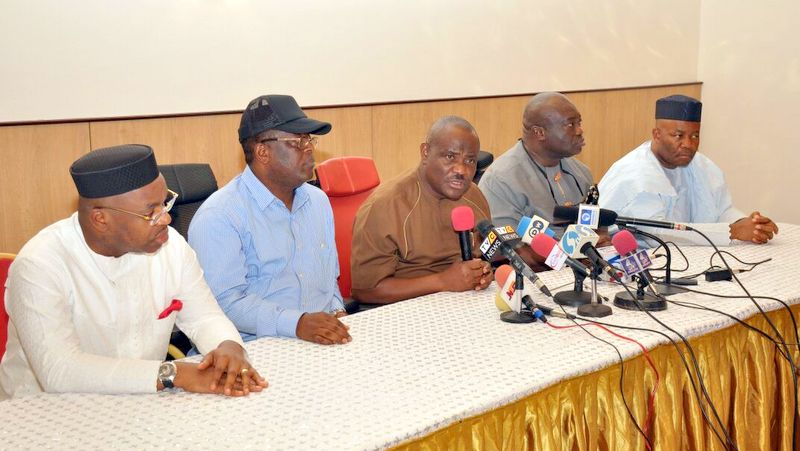 Governor Nyesom Wike addressing the press about the PDP national convention