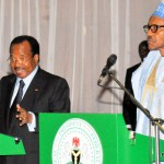 PRESIDENT MUHAMMADU BUHARI (R) ADDRESSING A JOINT PRESS CONFERENCE WITH THE VISITING PRESIDENT PAUL BIYA OF CAMEROUN AFTER A BILATERAL MEETING IN ABUJA ON WEDNESDAY (4/5/16) 4/5/2016/ICE/NAN