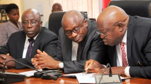 R-L: Special Adviser to the Governor on Primary Healthcare, Dr. Olufemi Onanuga; Commissioner for Health, Dr. Jide Idris and Permanent Secretary, Ministry of Information & Strategy, Mr. Fola Adeyemi during the Y2016 Ministerial Press Briefing to commemorate the First Year in Office of Governor Akinwunmi Ambode, at the Bagauda Kaltho Press Centre, the Secretariat, Alausa, Ikeja, on Tuesday, May 3, 2016.