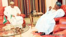 File photo of President Muhammadu Buhari and Former President Olusegun Obasanjo