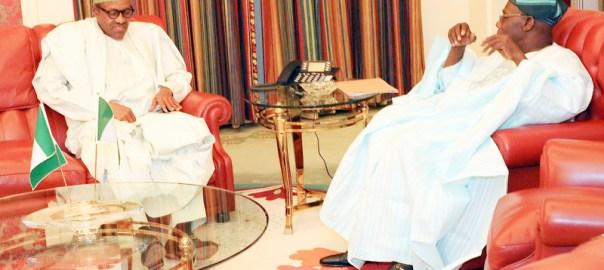 File photo of President Muhammadu Buhari and Former President Olusegun Obasanjo