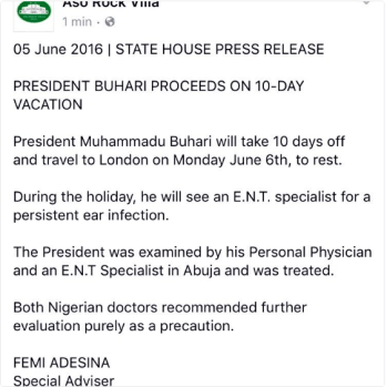 Aso Rock's statement on President Buhari's trip to London for treatment