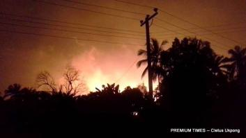 Illumination from the gas explosion in Nsit Ibom, Akwa Ibom (Photo credit Justice Udousoro