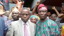 Acting Vice-Chancellor, Obafemi Awolowo University (OAU), Prof. Anthony Elujoba (L) and Public Relations Officer of the Institution, Mr Abiodun Olarewaju, with some supporters rejoicing over the election of Prof. Elujoba as the Acting Vice-Chancellor in Ile-Ife, Osun, on Thursday (21/7/16) 5236/21/7/2016/EDA/HB/BJO/NAN