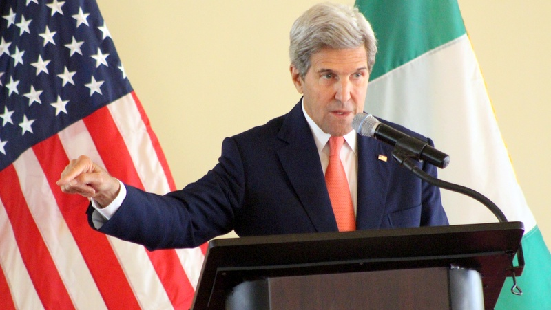 US Secretary of State, John Kerry, gestures while presenting a paper on religious tolerance and countering violent extremism at the Sultan's Palace in Sokoto...23/08/16