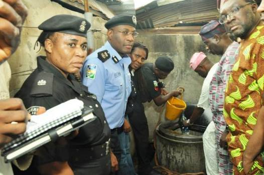Commissioner for Information and Strategy, Steve Ayorinde, first right and Lagos Police Commissioner, third left at the scene