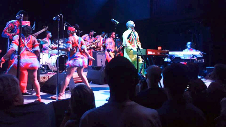 File photo of the Nigerian musician Femi Kuti, right, with The Positive Force band, at the 9:30 Club in Washington DC on Friday, performing on a United States tour.