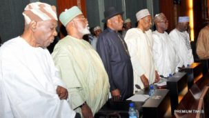FROM LEFT:  Former Head of Interim National Government, Chief Ernerst Shionekan;  Former Head of State, Gen Abdulsalami Abubarka; Former President Goodluck Jonathan; Former Chief Justice of Nigeria, Justice Lawal Uwais; Former Chief Justice of Nigeria, Justice Alpha Belgore and Former Chief Justice of Nigeria, Justice Idris Kutigi during  Council of State Meeting at the Presidential Villa Abuja on Wednesday (7/9/16) Photo by CAPTUREWELL IMAGE