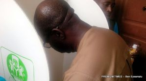 Obaseki casting his vote at the polling unit