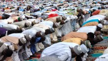 MUSLIMS  FAITHFUL PRAYING AT ILE ZIK IKEJA  IDIL PRAYER GROUND TO MARK THE EID-EL-KABIR CELEBRATION IN LAGOS ON MONDAY 682412/9/16/DAP/JAU/NAN