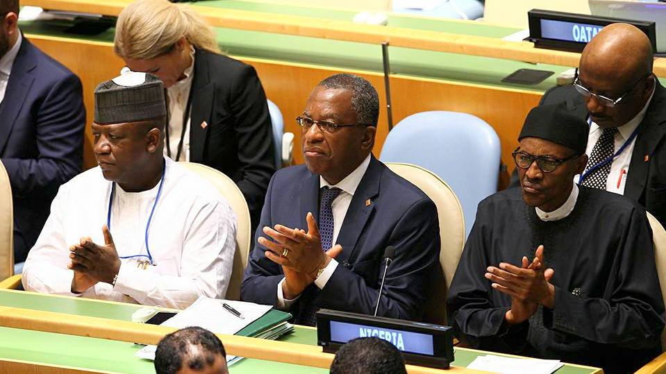 President Muhammadu Buhari Minister of Foreign Affairs Geoffery Onyeama and Zamfara State Governor Abdulaziz Yari at the 71st UN General Assembly
