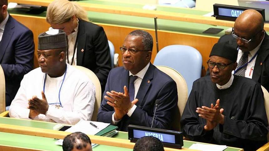 President Muhammadu Buhari, Minister of Foreign Affairs, Geoffery Onyeama and Zamfara State Governor, Abdulaziz Yari at the 71st UN General Assembly