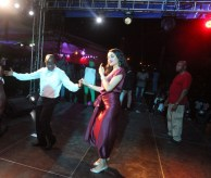 Governor Adams Oshiomhole and his wife, Iara, show their dancing skills at the Victory party.