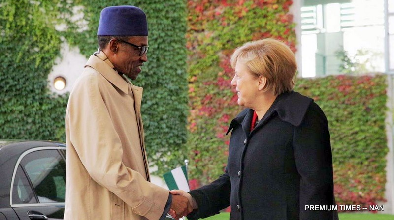 FILE PHOTO: President Mohammadu Buhari (l) being received by the German Chancellor, Angela Merkel in Berlin, Germany during the president's state visit on Friday (14/10/16). /7712/14/10/2016/Callistus Ewelike/HB/BJO/NAN