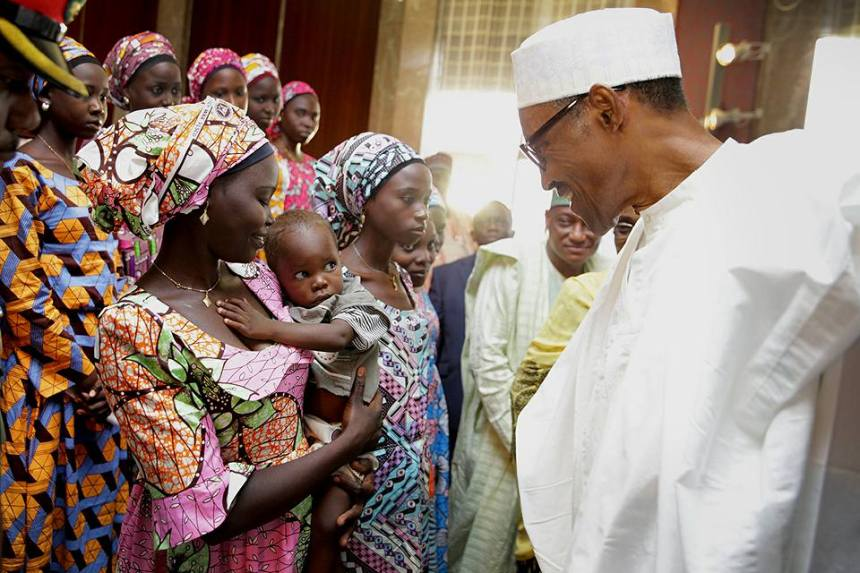 FILE PHOTO: FPresident Muhammadu Buhari meets with released Chibok girls