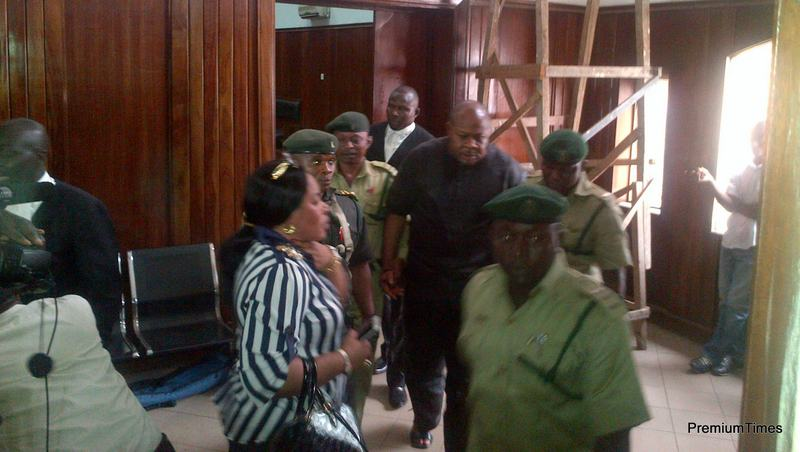 Fred Ajudua being accompanied by Prison officials