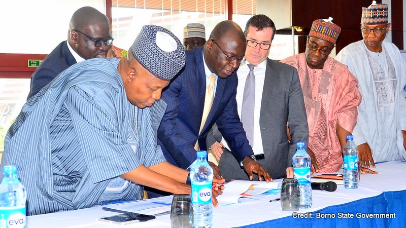 Left to Right: The Chairman, Northern States Governors' Forum, Governor Kashim Shettima of Borno State, President/Chief Executive Officer, General Electric, Nigeria, Lazarus Angbazo;  General Electric's Senior Executive, Western Europe and Africa, Armand Pineda, the CEO, Northern Nigeria Global Economic Re-integration Programme, Tanimu Kurfi at the signing of MOU between General Electric and Northern Governors for the construction of five solar power plants in Borno, Niger, Kebbi, Nassarawa and Taraba States... which held at the Transcorp Hilton Hotel in Abuja on Monday.